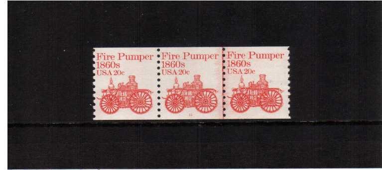 view larger image for Plate Number Coils Plate Number Coils: SG Number 1879 / Scott Number 20c Fire Pumper (1981) - A superb unmounted mint strip of three showing plate number 11