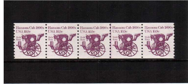 view larger image for Plate Number Coils Plate Number Coils: SG Number 1875 / Scott Number 10.9 Hansom Cab (1982) - A superb unmounted mint strip of five showing plate number 1