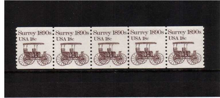 view larger image for Plate Number Coils Plate Number Coils: SG Number 1878 / Scott Number 18c Surrey (1981) - A superb unmounted mint strip of five showing plate number 1
