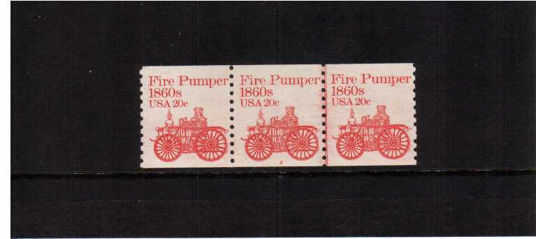 view larger image for Plate Number Coils Plate Number Coils: SG Number 1879 / Scott Number 20c Fire Pumper (1981) - A superb unmounted mint strip of three showing plate number 4