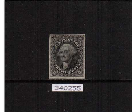 view larger image for The Imperforate Issues The Imperforate Issues: SG Number  / Scott Number 12c Black (1851) - A superb fine used stamp cancelled with a very light Blue grid cancel with four excellent margins showing a plate scratch at bottom right from positon 53R with a PHILATELIC FOUNDATION certificate. Lovely!