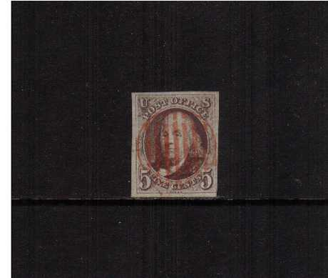 view larger image for The Imperforate Issues The Imperforate Issues: SG Number 1 / Scott Number 5c Red Brown (1847) - A superb four margined stamp 'socked-on-the-nose' with a circular Red grid cancel. The stamp has the benefit of a PHILATELIC FOUNDATION certificate. Pretty!