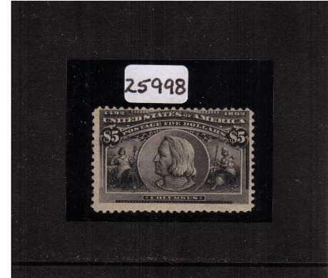 view larger image for Commemoratives 1893 Columbian - Early Period Commemoratives: SG Number 225 / Scott Number $5 Columbus (1893) - A fine lightly mounted mint stamp with original gum centered hight but clear of the perforations and the benefit of a BRANDON certificate