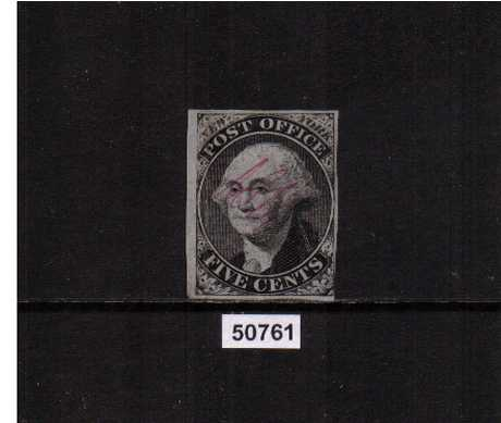 view larger image for The Imperforate Issues The Imperforate Issues: SG Number  / Scott Number 5c Black - New York N.Y (1845) - a fine nearly four margined example signed ACM in unused condition (as issued) with a light vertical crease at left. SCOTT Cat $1500. With PSE Certificate.