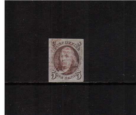 view larger image for The Imperforate Issues The Imperforate Issues: SG Number 1 / Scott Number 5c Red Brown (1847) - A superb very fine used stamp with four excellent large margins cancelled with a very light Red bar cancel with the benefit of a PHILATELIC FOUNDATION certificate. A gem.