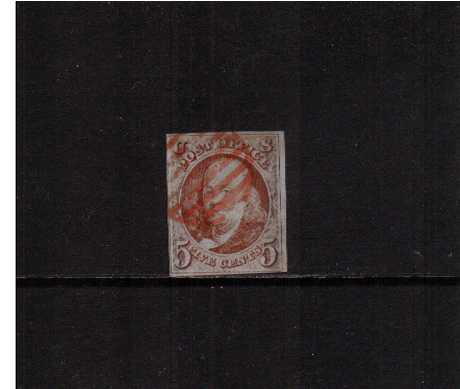 view larger image for The Imperforate Issues The Imperforate Issues: SG Number  / Scott Number 5c Orange-Brown (1847) - A very pretty stamp with four margins, close but clear at left cancelled with a Red Grid cancel with the benefit of a PSE certificate. Lovely!