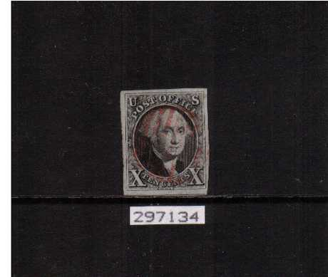 view larger image for The Imperforate Issues The Imperforate Issues: SG Number 2 / Scott Number 10c Black (1847) - A stunning stamp with four huge, jumbo  margins and part of the stamp below cancelled with a light Red bar cancel with the benefit of a PHILATELIC FOUNDATION certificate. A real gem!