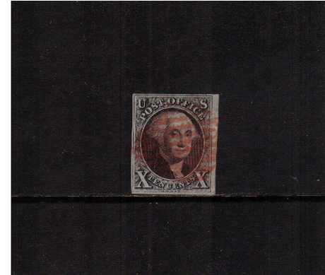 view larger image for The Imperforate Issues The Imperforate Issues: SG Number 2 / Scott Number 10c Black (1847) - A pretty four margined stamp cancelled with a Reb Bar cancel with the benefit of a PSE certificate. Lovely!