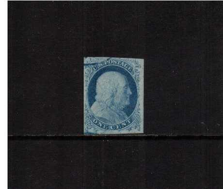 view larger image for  : SG Number  / Scott Number 7 (1851) - A fine four margined stamp, well clear of design,  cancelled across the NW corner with part of a Blue town cancel with the benefit of a PHILATELIC FOUNDATION certificate.
