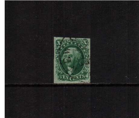 view larger image for The Imperforate Issues The Imperforate Issues: SG Number  / Scott Number 10c Green - Type II (1855) - A stunning stamp crisply cancelled with a large Black circular date stamp witrh four large margins and the benefit of a PHILATELIC FOUNDATION certificate.
