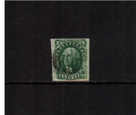 view larger image for The Imperforate Issues The Imperforate Issues: SG Number  / Scott Number 10c Green - Type II (1855) - A superb stamp with a crisp, proof like impression with four huge margins and cancelled with a Black bar cancel and part of a Red cancel at foot with the benefit of a PHILATELIC FOUNDATION certificate.