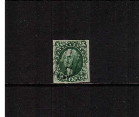 view larger image for The Imperforate Issues The Imperforate Issues: SG Number  / Scott Number 10c Green - Type III (1855) - A superb crisp impression stamp cancelled with a Black Bar cancel with four large margins with the benefit of a PHILATELIC FOUNDATION certificate stating the stamp is from position 83R. Superb!!