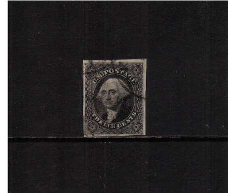 view larger image for The Imperforate Issues The Imperforate Issues: SG Number  / Scott Number 12c Black (1851) - A superb fine used stamp cancelled with two Black circular date stamps clear of profile with four margins, close but not cut into in SE corner with the benefit of a PSE certificate.
