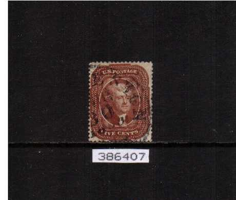 view larger image for Early Issues To 1906 Early Issues To 1906: SG Number  / Scott Number 5c Red Brown - Type I (1857) - a superb fine used stamp cancelled with an indistinct circular date stamp with excellent centering and perforations with the benefit of a PHILATELIC FOUNDATION certificate.
