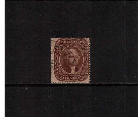 view larger image for Early Issues To 1906 Early Issues To 1906: SG Number  / Scott Number 5c Brown - Type II (1860) - A superb fine used stamp cancelled with part of a circular date stamp but reperforated at top according to the PSE certificate.