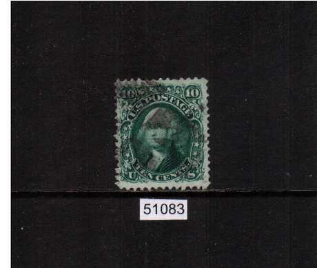 view larger image for Early Issues To 1906 Early Issues To 1906: SG Number  / Scott Number 10c Washington - Yellow Green (1861) - A good used single cancelled with a cork cancel with good centering and the benefit of a PSE certificate