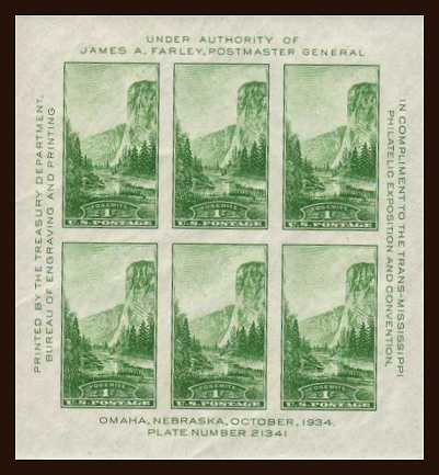 view larger image for  : SG Number MS750 / Scott Number 751 (1934) - Yosemite <br/>