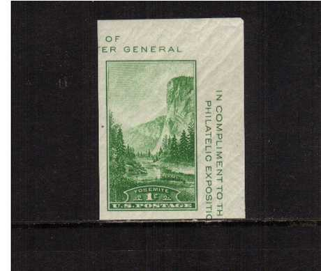view larger image for Commemoratives 1934-35 National Parks - Early Period Commemoratives: SG Number MS750a / Scott Number 1c (1934) - Single stamp from sheet