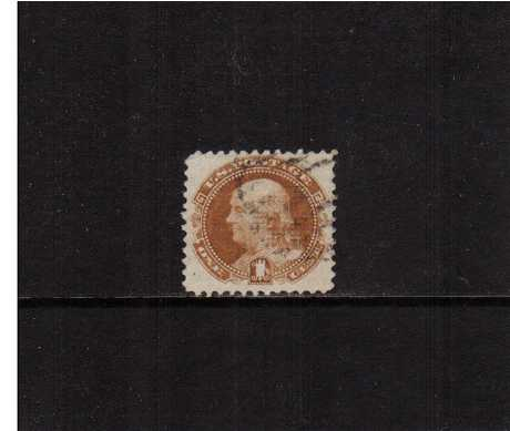 view larger image for Early Issues To 1906 Early Issues To 1906: SG Number 114 / Scott Number 1c Ben Franklin  - Pictorial Issue (1869) - A superb very fine used stamp with excellent centering for this issue.