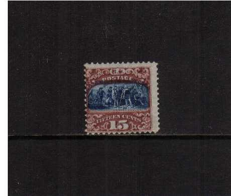 view larger image for Early Issues To 1906 Early Issues To 1906: SG Number 121 / Scott Number 15c Landing of Columbus - Type II - Pictorial Issue (1869) - A very attractive stamp with deep, rich colour in lightly mounted mint condition showing an exceptionally deep grill on front and back. Unusual.