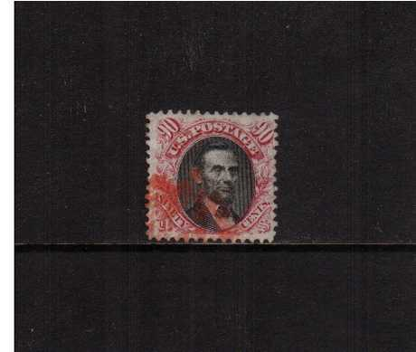 view larger image for  : SG Number 124 / Scott Number 122 (1869) - A superb fine used stamp with reasonable centering for this issue and unusually deep rich colours cancelled clear of profile in RED. An rare cancel colour on a rare stamp.