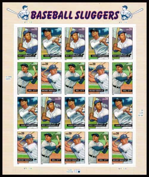 view larger image for Commemoratives 2006 - 2007 - Later Period Commemoratives: SG Number 4622v / Scott Number 39c x20 - 15 July 2006 (2006) - 'Baseball Sluggers'<br/>