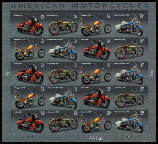 view larger image for Commemoratives 2006 - 2007 - Later Period Commemoratives: SG Number 4646v / Scott Number 39c x20 - 7 August 2006 (2006) - American Motorcycles<br/>