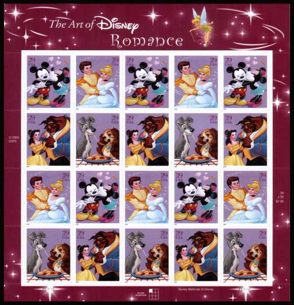view larger image for Commemoratives 2006 - 2007 - Later Period Commemoratives: SG Number 4567v / Scott Number 39c x20 - 21 April 2006 (2006) - The Art of Disney - Romance<br/>