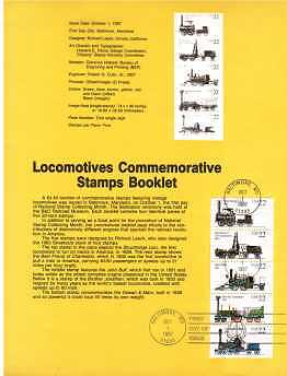 view larger image for Pages Pages: SG Number 2326a / Scott Number 1 Oct 1987 (1987) - Locomotive Trains Booklet Pane