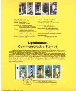 view larger image for Pages Pages: SG Number 2520a / Scott Number 26 April 1990 (1990) - Lighthouses booklet pane