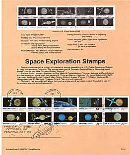 view larger image for Pages Pages: SG Number 2634a / Scott Number 1 Oct 1991 (1991) - Space Exploration booklet pane