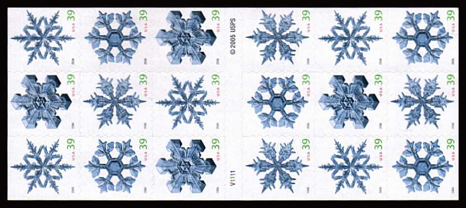 view larger image for Commemoratives 2006 - 2007 - Later Period Commemoratives: SG Number  / Scott Number $7.02 - ATM Flat Booklet - 5 October 2006 (2006) - Christmas - Snowflakes<br/>