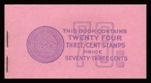 view larger image for Booklets Booklets: SG Number SB71 / Scott Number 73c Violet on Pink (1939) - Thomas Jefferson - 'Prexy'