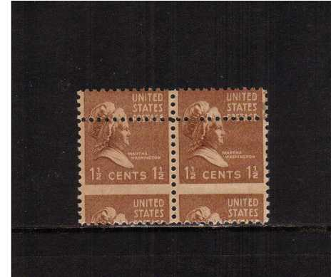 view larger image for  : SG Number 801var / Scott Number 805var (1938) - An unmounted mint horizontal pair showing a large downwards shift plus the benefit of the stamps above. Small stain top right.