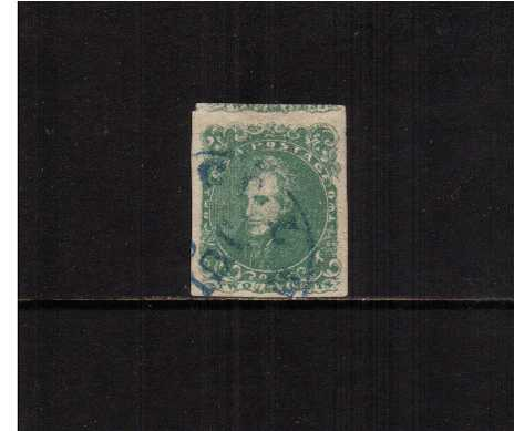 view larger image for Confederate States Confederate States: SG Number 4 / Scott Number 2c Green - Andrew Jackson (1862) - A fine four margined stamp with parts of the stamp above cancelled with a BLUE town cancel