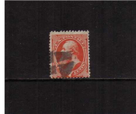 view larger image for Early Issues To 1906 Early Issues To 1906: SG Number 1 / Scott Number 7c Stanton  - National Bank Note Company - WITH Grill (1870) - A bright and fresh looking stamp cancelled with a cork cancel centered a little low but with a very clearly visible grill even on the scan! Scarce stamp!