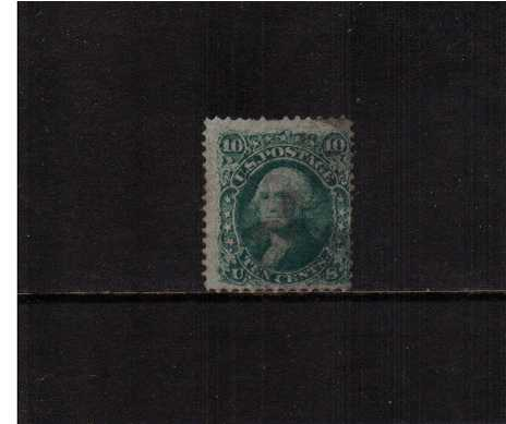 view larger image for Early Issues To 1906 Early Issues To 1906: SG Number 91 / Scott Number 10c George Washington - 'E' Grill - 11x13mm (18) - A used example of this scarce stamp on very thin paper (listed variety) and good  grill. Note the stamp has one shortish perf at top, not two. the other perf that appears to be completely missing has black ink on it! SCOTT Cat $350