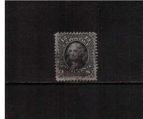 view larger image for Early Issues To 1906 Early Issues To 1906: SG Number 92 / Scott Number 12c George Washington - 'E' Grill - 11x13mm (1868) - A very fine used example of this scarce stamp cancelled with  Black and Red indistinct cancels centered just a little high but far better than average for this issue.