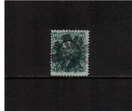view larger image for Early Issues To 1906 Early Issues To 1906: SG Number 98a / Scott Number 10c George Washington -  'F' Grill - 9x13mm (1868) - A superb stamp in an attractive Blue-Green shade cancelled with a Black Cog Wheel fancy cancel centered a little to the left but excellent centering for this issue. A very pretty stamp.