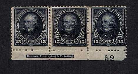 view larger image for  : SG Number 261 / Scott Number 259 (1894) - A very heavily mounted and minor faults lower marginal mint Imprint and Plate number strip of three. SCOTT Cat $1500
