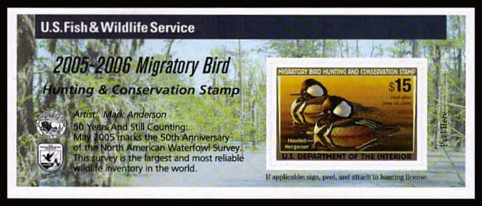 view larger image for Federal Ducks Federal Ducks: SG Number  / Scott Number $15 (2005) - Migratory Bird Hunting and Conservation Stamp<br/>