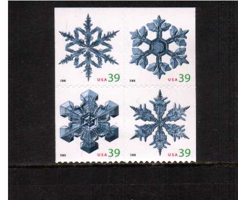 view larger image for Commemoratives 2006 - 2007 - Later Period Commemoratives: SG Number 4670-4673 / Scott Number 39c x4 - 5 October 2006 (2006) - Christmas - Snowflakes<br/>