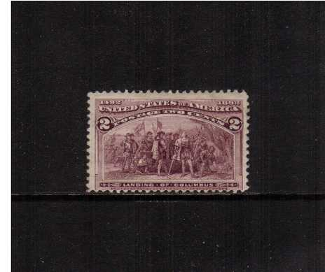 view larger image for Commemoratives 1893 Columbian - Early Period Commemoratives: SG Number 236 / Scott Number 2c - 'Landing of Columbus' (1893) - An average lightly mounted mint stamp.