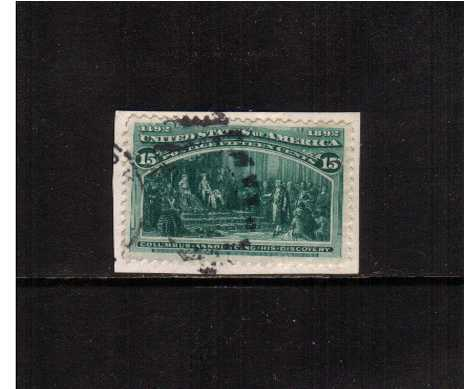 view larger image for Commemoratives 1893 Columbian - Early Period Commemoratives: SG Number 243 / Scott Number 15c - 'Columbus Announcing his Discovery' (1893) - A fine used stamp tied to a small piece.