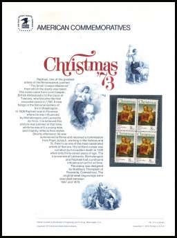 view larger image for Commemorative Panels Commemorative Panels: SG Number 1513 / Scott Number Panel Number 25 (1973) - Christmas - Madonna