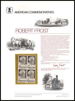 view larger image for Commemorative Panels Commemorative Panels: SG Number 1524 / Scott Number Panel Number 28 (1974) - Robert Frost