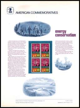 view larger image for Commemorative Panels Commemorative Panels: SG Number 1545 / Scott Number Panel Number 38 (1974) - Enery Conservation