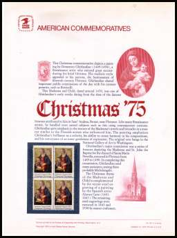 view larger image for Commemorative Panels Commemorative Panels: SG Number 1578 / Scott Number Panel Number 59 (1975) - Christmas - Madonna and Child