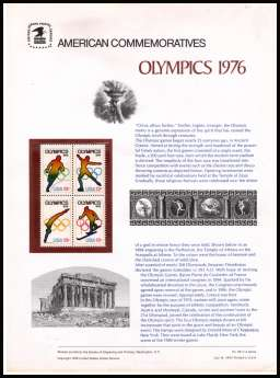 view larger image for Commemorative Panels Commemorative Panels: SG Number 1672-1675 / Scott Number Panel Number 68 (1976) - Winter Olympics '76
