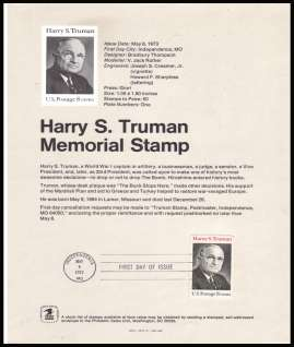view larger image for Pages Pages: SG Number 1500 / Scott Number 8 May 1973 (1973) - President Harry S. Truman